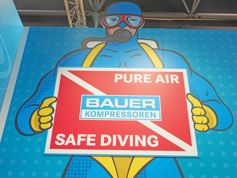 PureAirMan at the BAUER stand – our very own superhero protecting the quality of breathing air